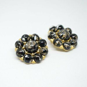 CROWN TRIFARI Black Art Glass Bead Earrings
